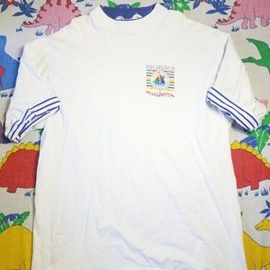 Vintage Poco Loco Yacht Club Shirt Striped Sleeves